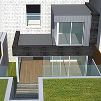 Architect designed two storey house extension Brockley Lewisham SE4 – 3D Rear elevation 200x200 Honor Oak Park, Lewisham SE23 | Kitchen extension
