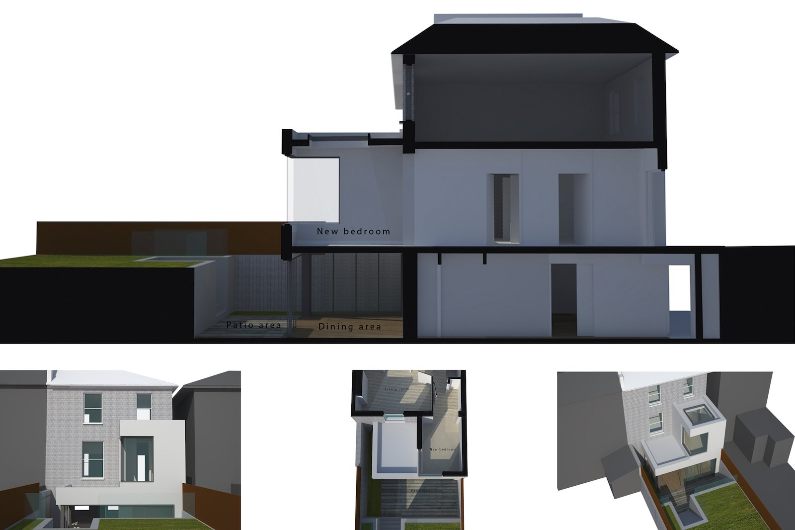 Architect designed two storey house extension Brockley Lewisham SE4 – 3D corner window option Brockley, Lewisham SE4 | Two storey house extension