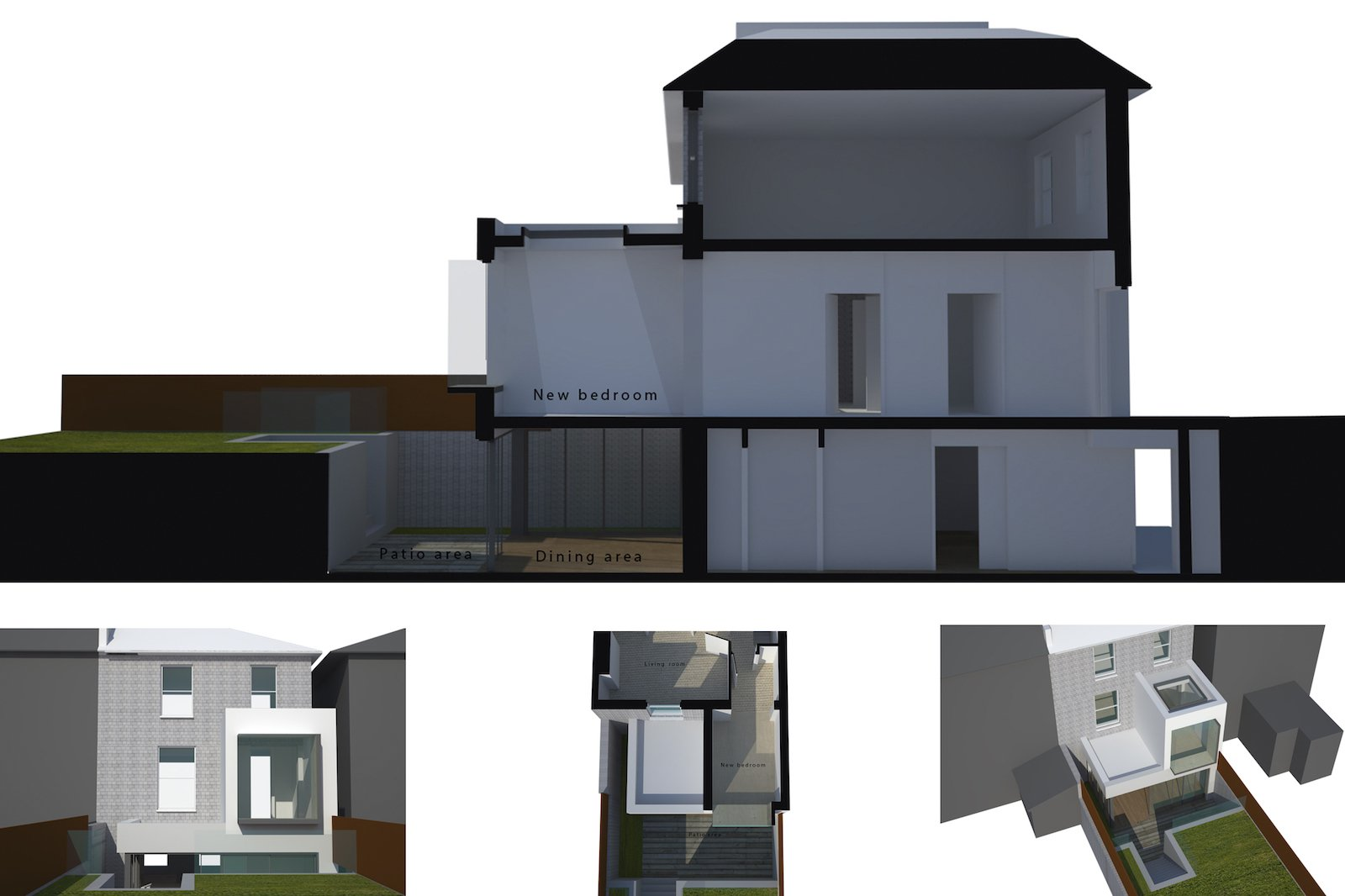 Architect designed two storey house extension Brockley Lewisham SE4 – 3D window seat option Brockley, Lewisham SE4 | Two storey house extension