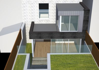 Architect designed two storey house extension Brockley Lewisham SE4 – Design rear elevation 3D copy 400x284 Filterable Portfolio of Residential Architecture Projects