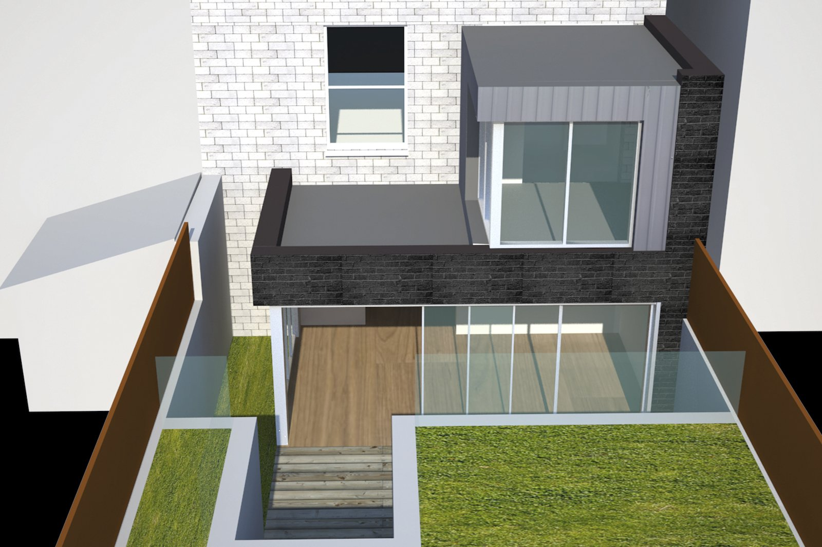 Architect designed two storey house extension Brockley Lewisham SE4 – Design rear elevation 3D Brockley, Lewisham SE4 | Two storey house extension