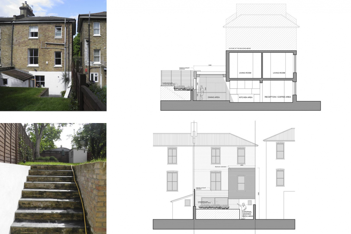 Architect designed two storey house extension Brockley Lewisham SE4 – Design sections and elevations 1200x800 Brockley, Lewisham SE4 | Two storey house extension