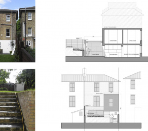 Architect designed two storey house extension Brockley Lewisham SE4 – Design sections and elevations 300x266 Brockley, Lewisham SE4 | Two storey house extension