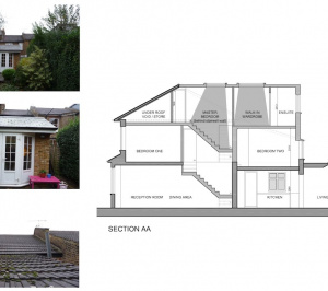 01 St Margarets Richmond TW1 House roof extension Section 300x266 St Margarets I, Richmond TW1 | House roof extension