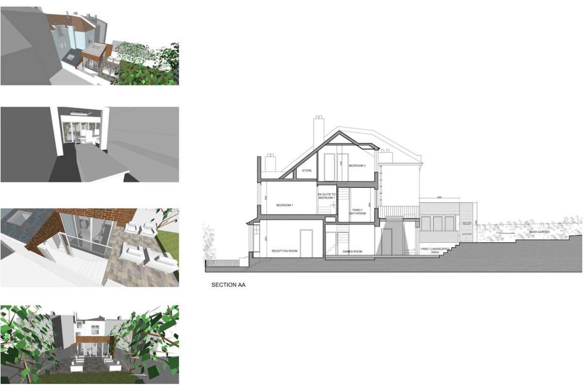 03 Highgate Haringey N8 House extension Design section 1200x800 Highgate II, Haringey N8 | House extension