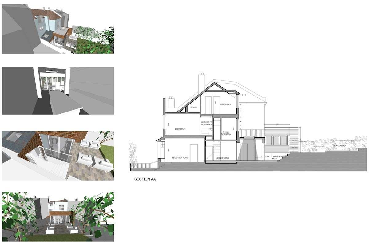 03 Highgate Haringey N8 House extension Design section Highgate II, Haringey N8 | House extension
