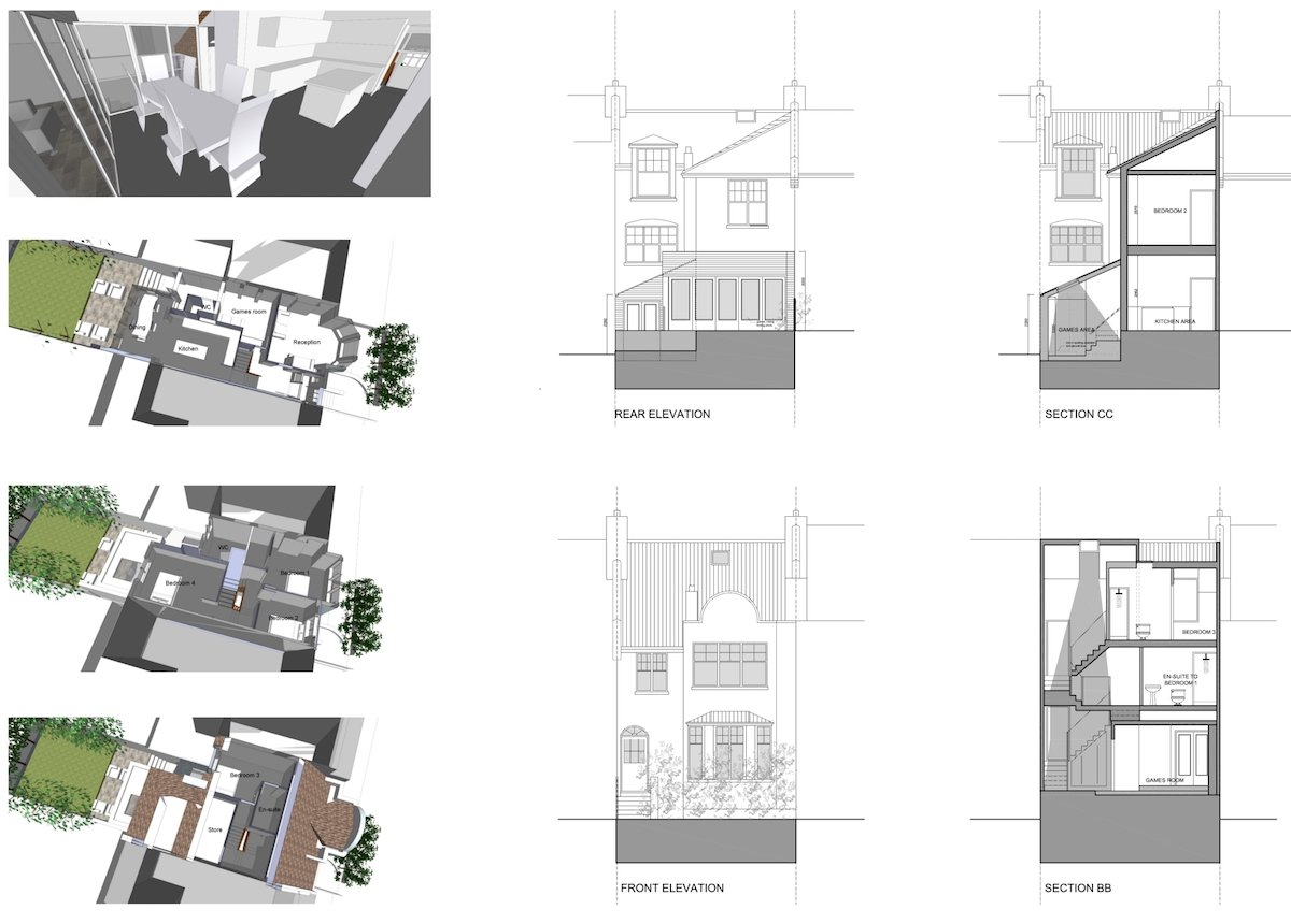 04 Highgate Haringey N8 House extension 3Ds sections and elevations Highgate II, Haringey N8 | House extension