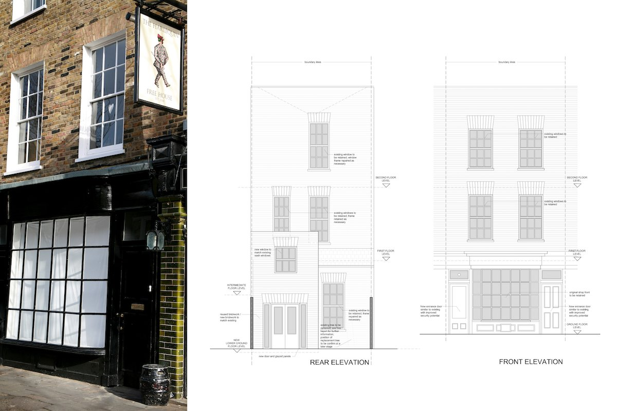 Architect designed Listed House extension Angel Islington EC1 Front and rear design elevations1 Angel, Islington EC1 | Listed house extension
