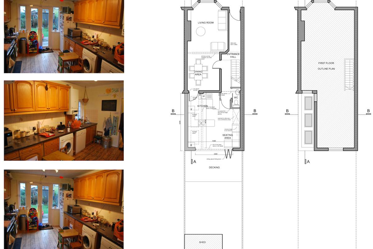 Architect designed Southfields Wandsworth SW18 kitchen house extension Plans 1 1200x800 Southfields, Wandsworth SW18 | Kitchen house extension