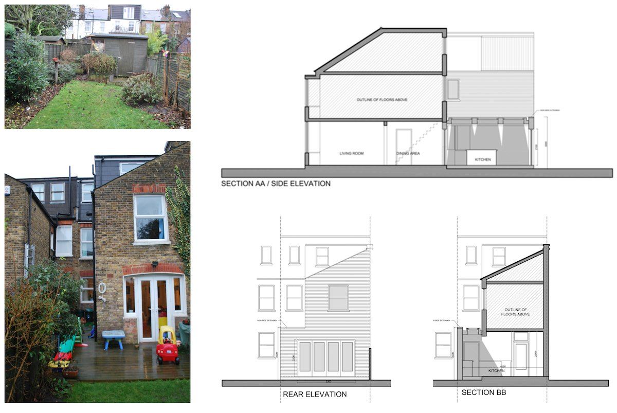 Architect designed Southfields Wandsworth SW18 kitchen house extension Sections and elevations 1 Southfields, Wandsworth SW18 | Kitchen house extension