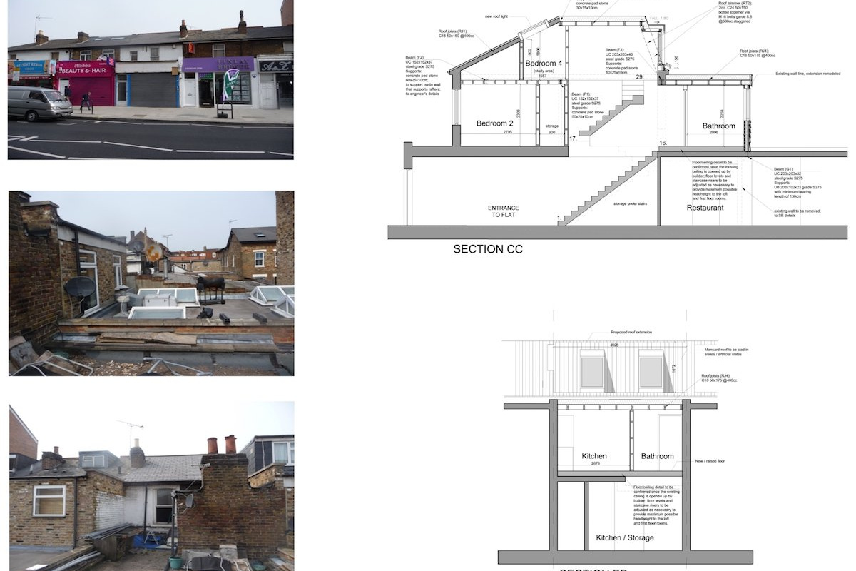 Architect designed flat extension Hammersmith Fulham W12 Design sections 1200x800 Stamford Brook, Hammersmith and Fulham W12 | Flat extension
