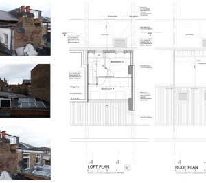Architect designed flat extension Hammersmith Fulham W12 L R design plans 300x266 Stamford Brook, Hammersmith and Fulham W12   Flat extension