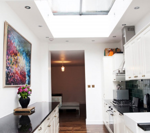 Architect designed flat extension Warwick Avenue Westminster W9 Kitchen area 300x266 Warwick Avenue, Westminster W9 | Flat extension
