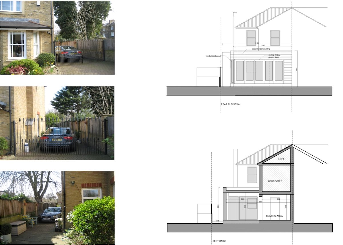 Architect designed house extension Brockley Lewisham SE4 Design section and rear elevation Brockley, Lewisham SE4 | House extension