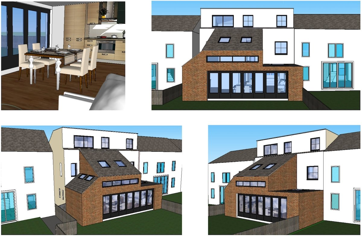 Architect designed house extension Chiswick Hounslow W4 Design 3D images Chiswick, Hounslow W4   House extension