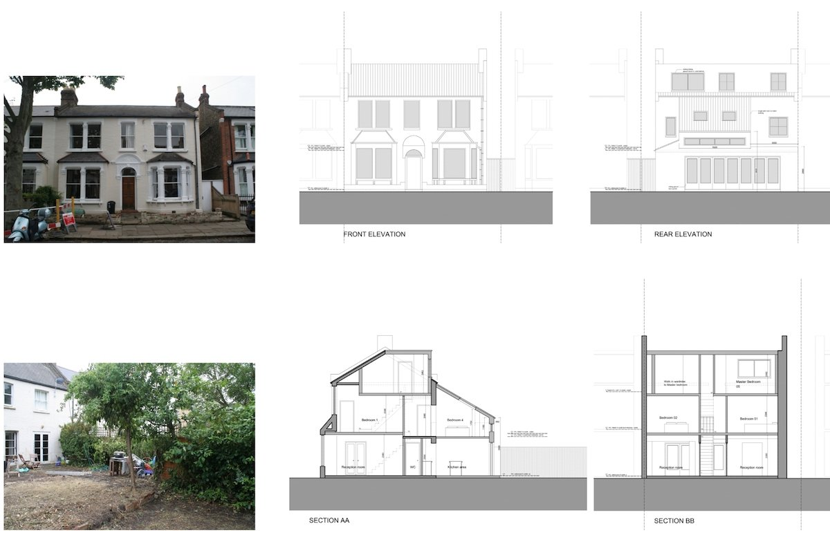 Architect designed house extension Chiswick Hounslow W4 Design sections and elevations Chiswick, Hounslow W4   House extension