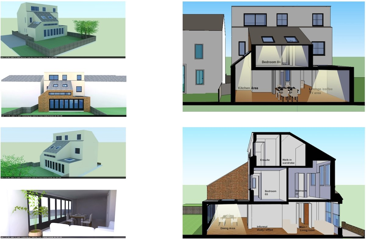 Architect designed house extension Chiswick Hounslow W4 More design 3D images Chiswick, Hounslow W4   House extension