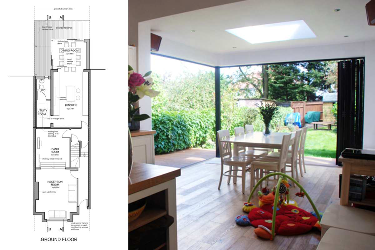 Architect designed house extension East Finchley Barnet N2 Ground floor plan 1200x800 East Finchley, Barnet N2 | House extension