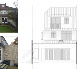 Architect designed house extension Grange Park Enfield N21 Rear elevation 300x266 Grange Park, Enfield N21 | House extension and alterations