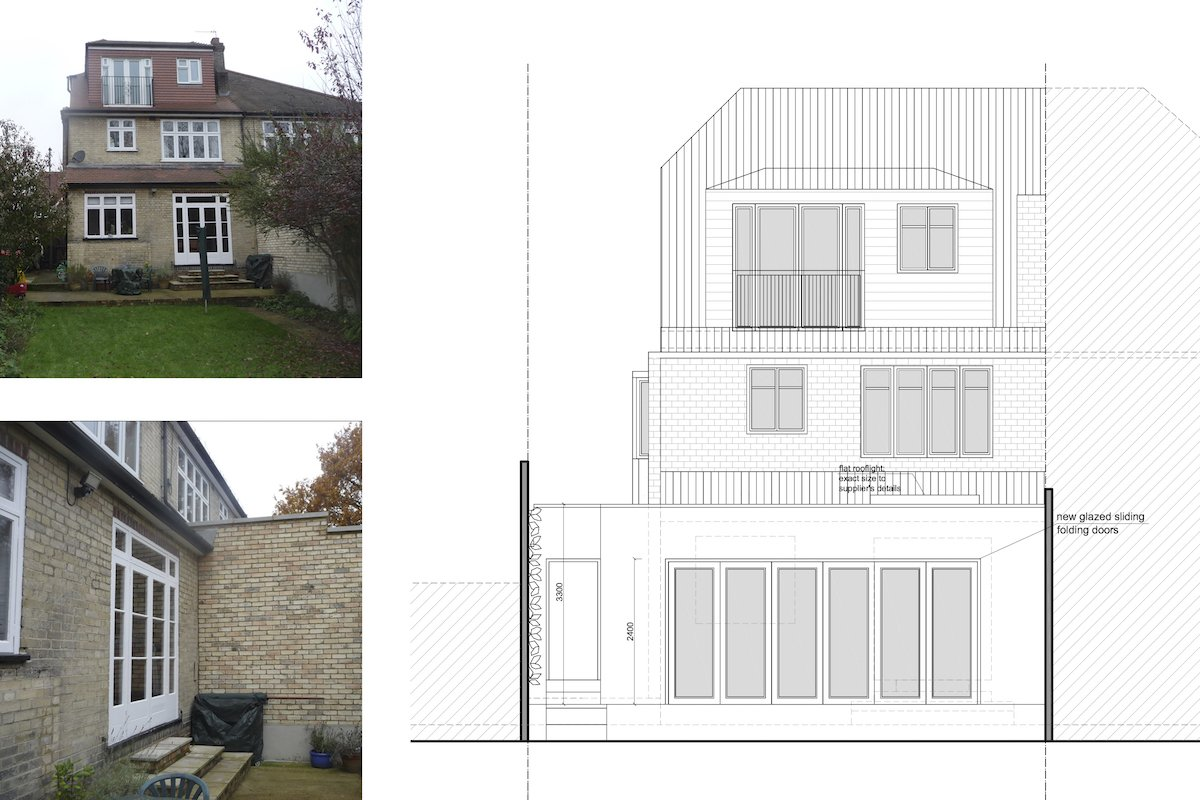 Architect designed house extension Grange Park Enfield N21 Rear elevation Grange Park, Enfield N21 | House extension and alterations