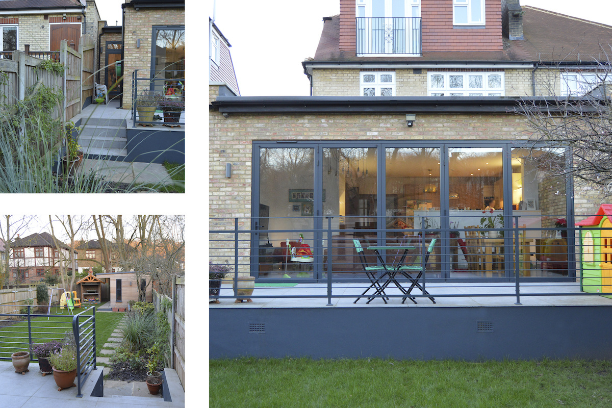 Architect designed house extension Grange Park Enfield N21 Views of the raised terrace 1200x800 Grange Park, Enfield N21 | House extension and alterations