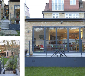 Architect designed house extension Grange Park Enfield N21 Views of the raised terrace 300x266 Grange Park, Enfield N21 | House extension and alterations