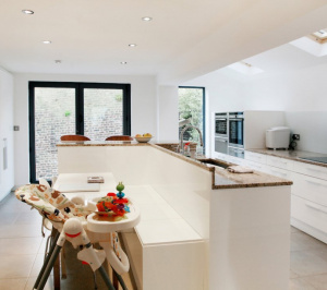Architect designed house extension Highbury Islington N5 Ground floor kitchen area e1582377873245 300x266 Highbury, Islington N5 | House extension