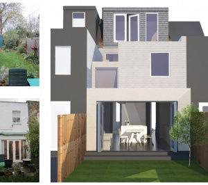 Architect designed house extension West Hampstead Camden NW6 3D visual and photos1 2 300x266 West Hampstead, Camden NW6 | House extension