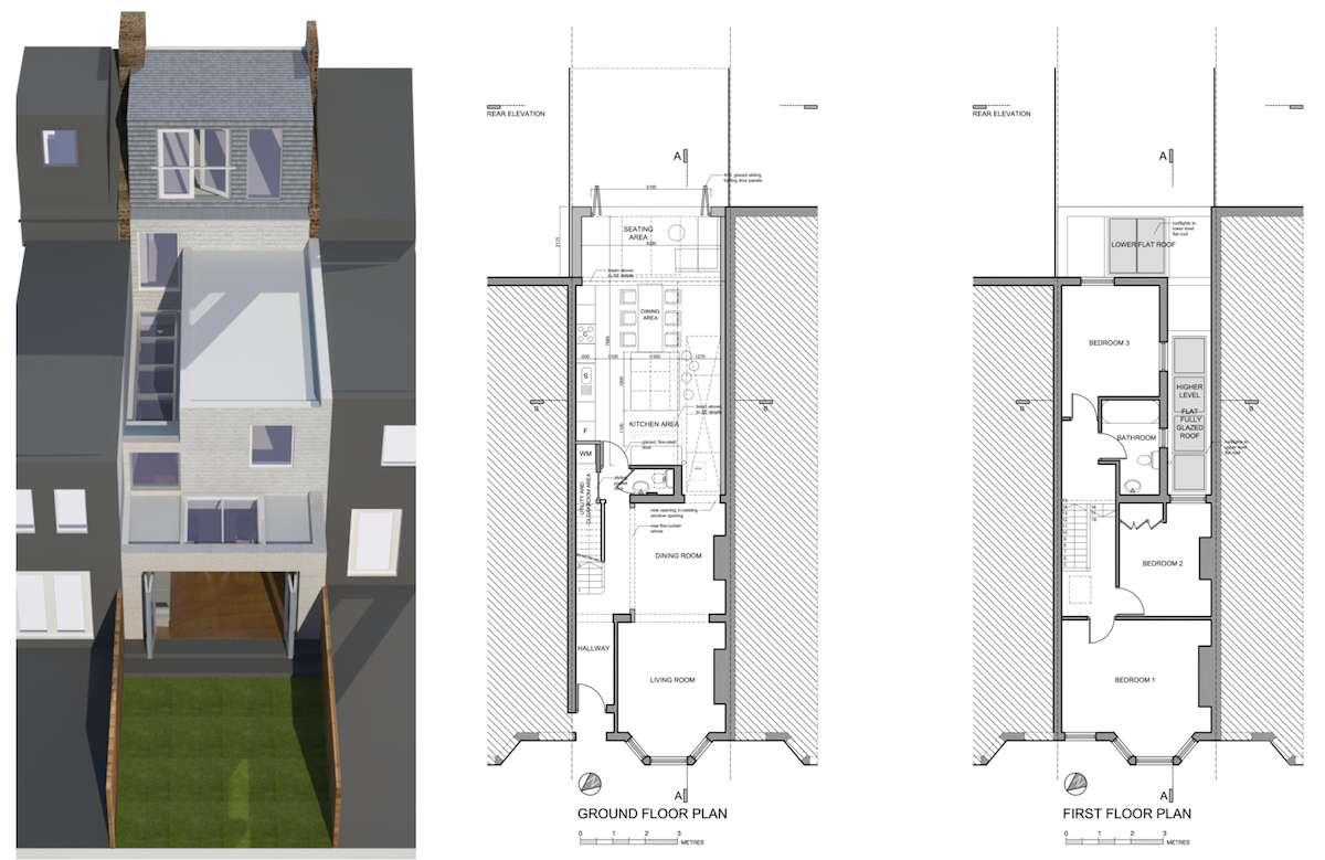 Architect designed house extension West Hampstead Camden NW6 Design floor plans West Hampstead, Camden NW6   House extension