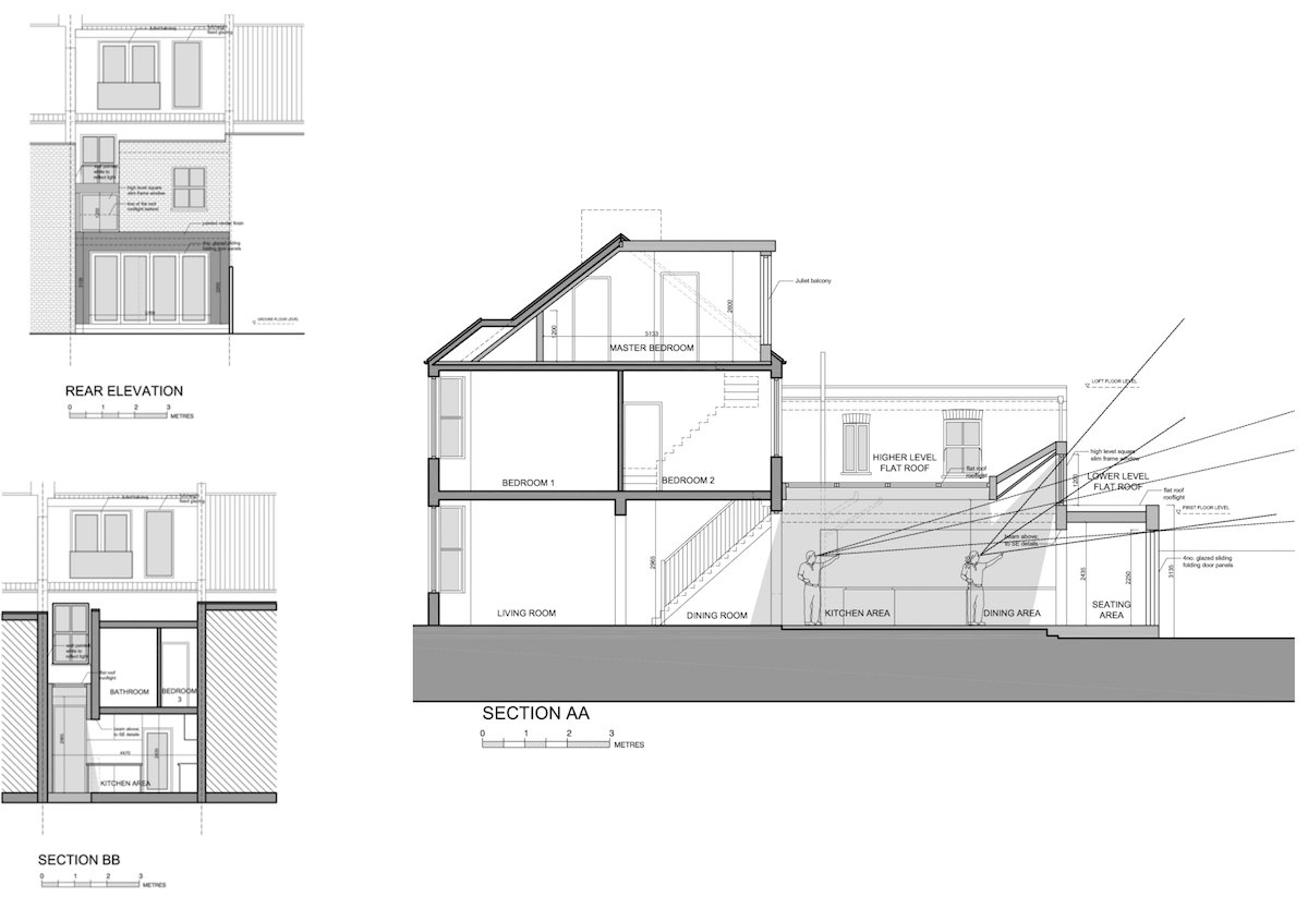 Architect designed house extension West Hampstead Camden NW6 Design sections and elevations West Hampstead, Camden NW6   House extension