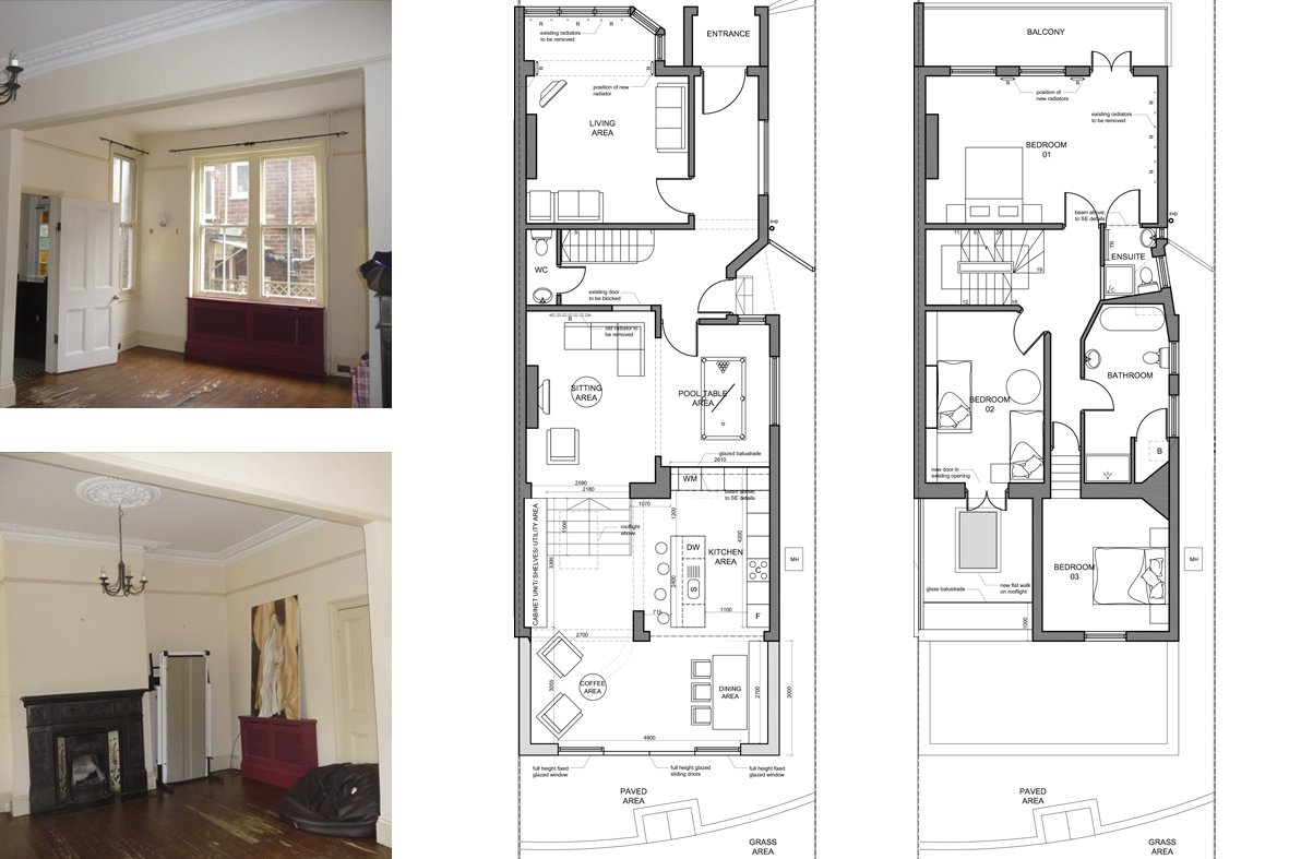 Architect designed house extension Winchmore Hill Enfield N21 Floor plans Winchmore Hill, Enfield N21 | House extension and refurbishment