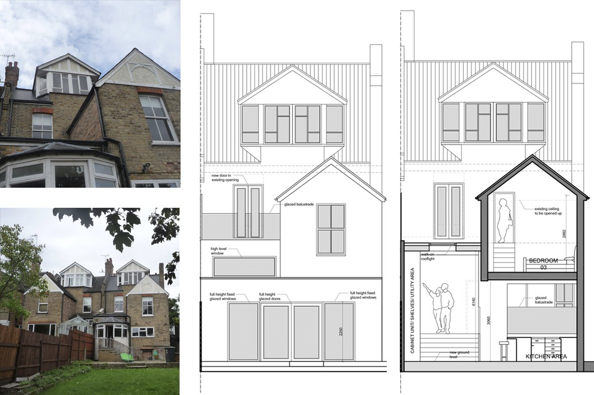 Architect designed house extension Winchmore Hill Enfield N21 Rear elevation and section Winchmore Hill, Enfield N21 | House extension and refurbishment
