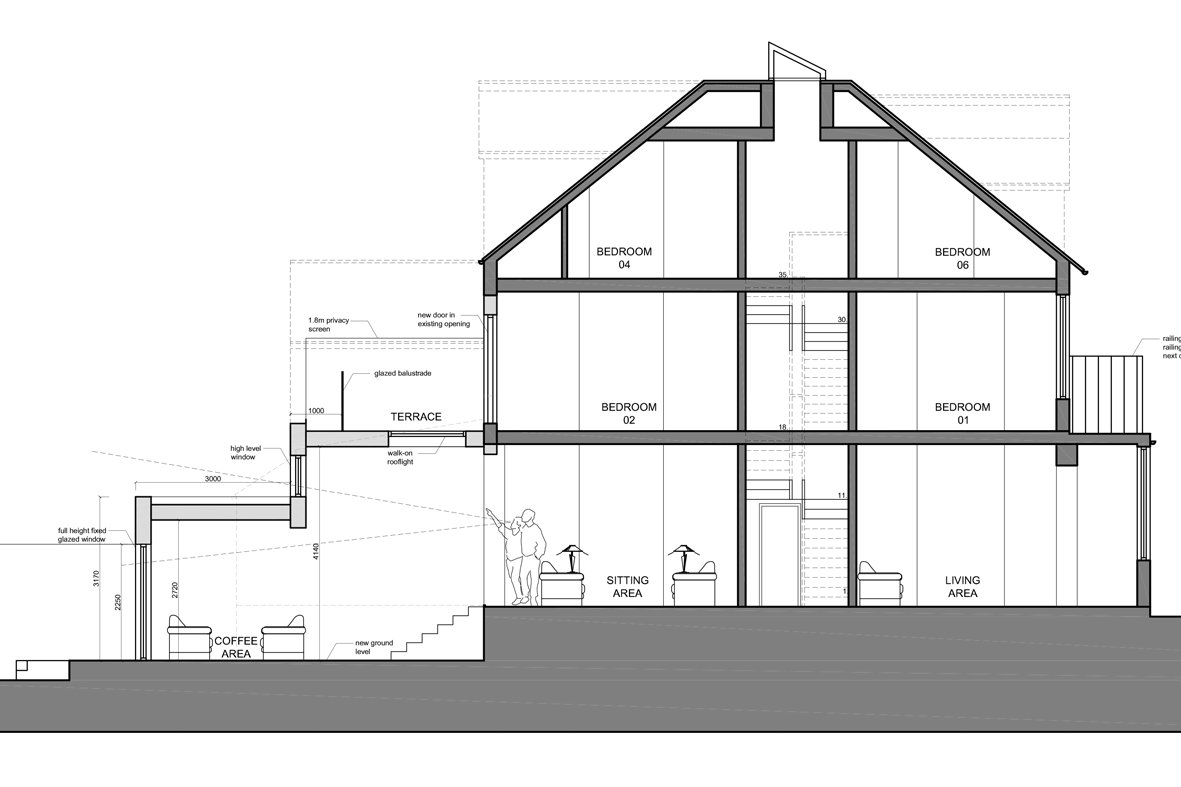 Architect designed house extension Winchmore Hill Enfield N21 Section AA Winchmore Hill, Enfield N21 | House extension and refurbishment