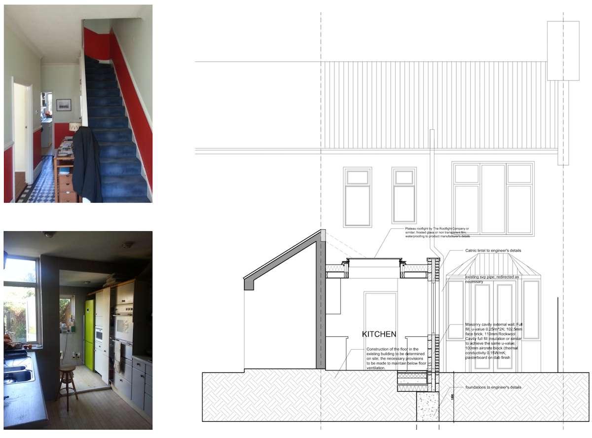 Architect designed kitchen extension Honor Oak Park Lewisham SE23 Design section Honor Oak Park, Lewisham SE23 | Kitchen extension