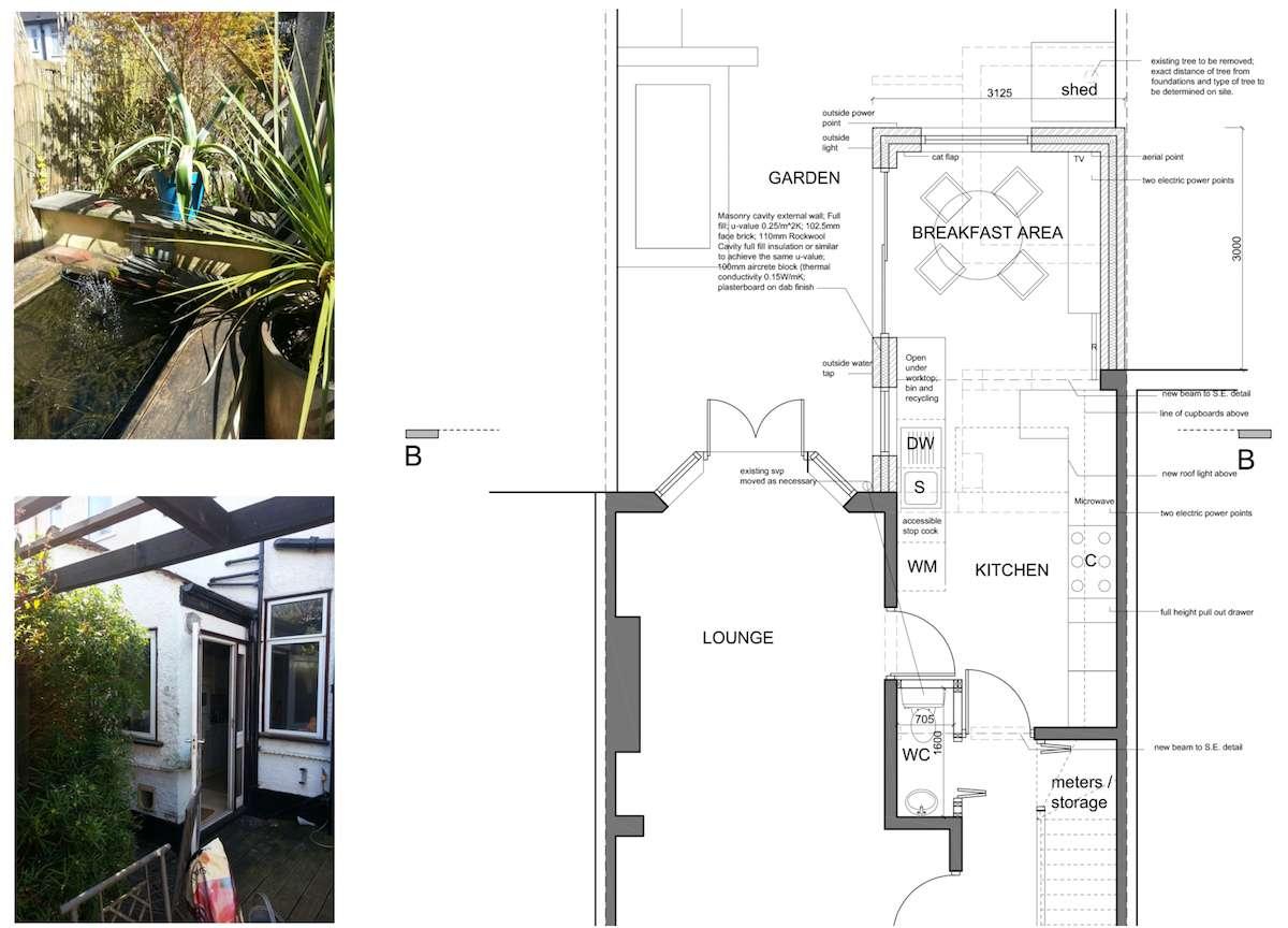 Architect designed kitchen extension Honor Oak Park Lewisham SE23 Floor plan Honor Oak Park, Lewisham SE23 | Kitchen extension
