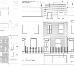 Architect designed mansard roof house extension Angel Islington N1 Design elevations 300x266 Angel, Islington N1 | Mansard roof house extension