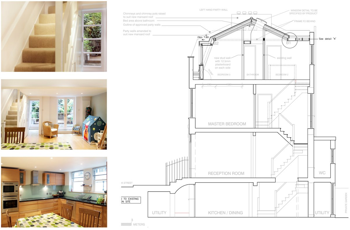 Architect designed mansard roof house extension Angel Islington N1 Design section Angel, Islington N1 | Mansard roof house extension