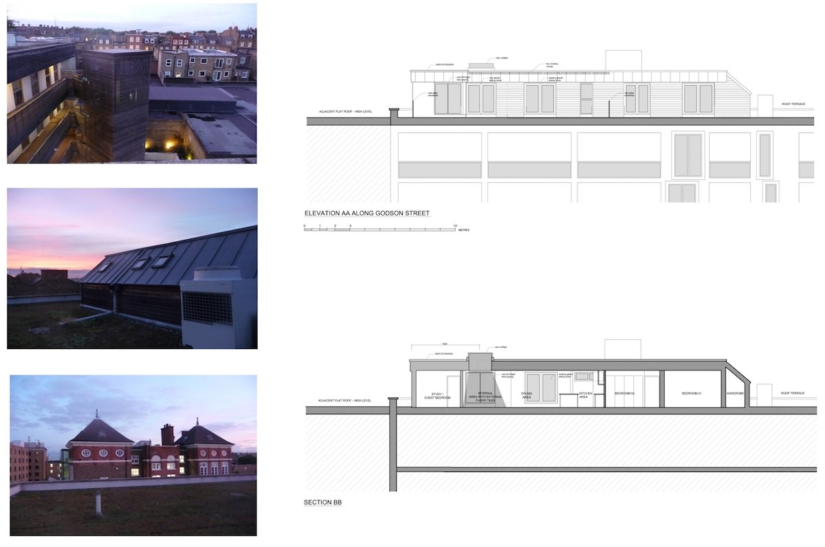 Architect designed penthouse extension Angel Islington N1 Section and elevation Angel, Islington N1 | Penthouse extension