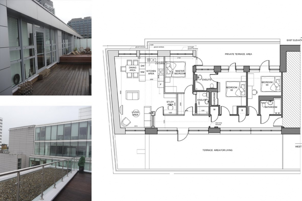 Architect designed penthouse extension Barbican Islington EC1Y Floor plan 1 1 1200x800 Barbican, Islington EC1Y | Penthouse extension