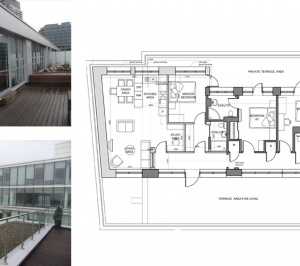 Architect designed penthouse extension Barbican Islington EC1Y Floor plan 1 1 300x266 Barbican, Islington EC1Y | Penthouse extension