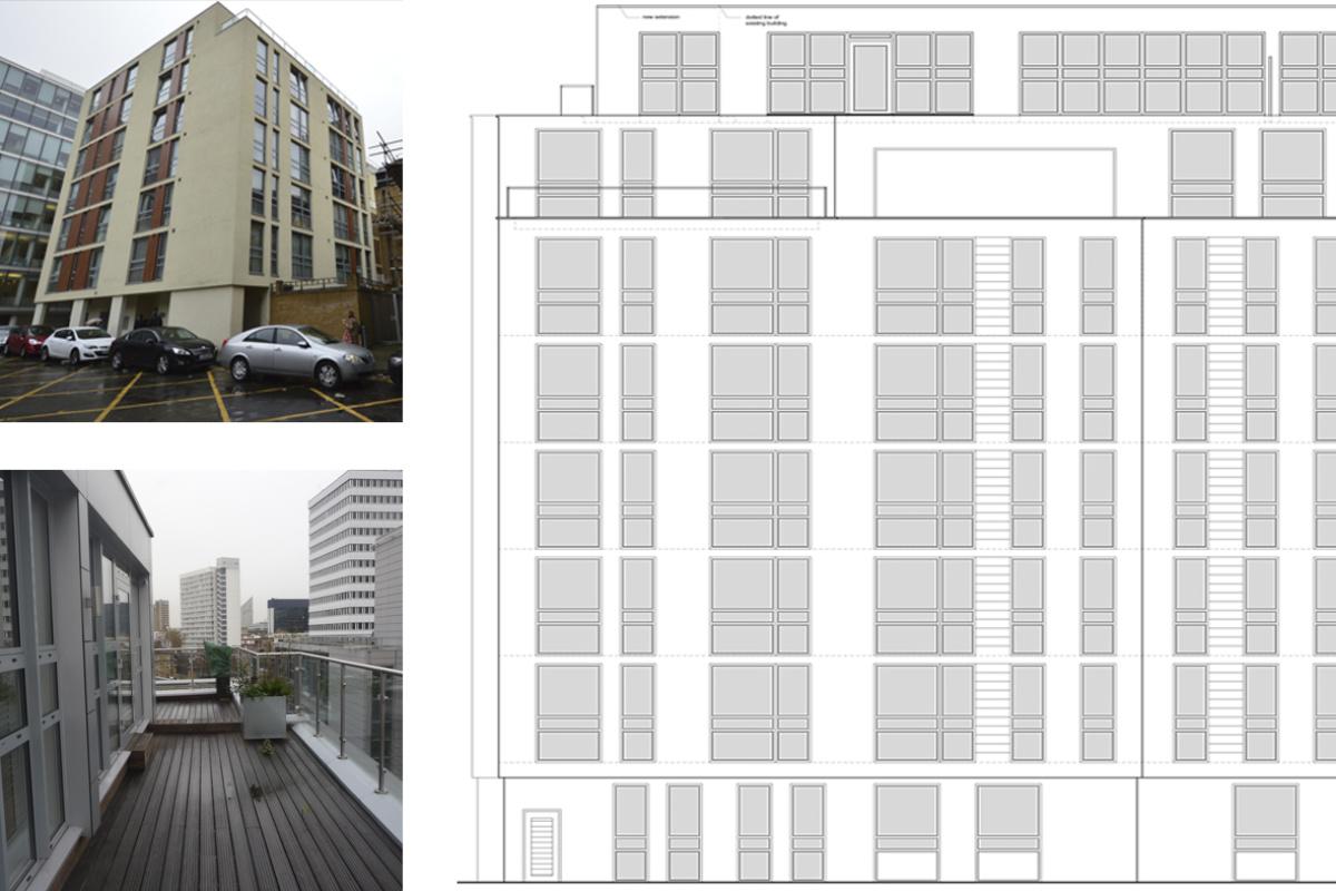 Architect designed penthouse extension Barbican Islington EC1Y West Elevation 1 1 1200x800 Barbican, Islington EC1Y | Penthouse extension