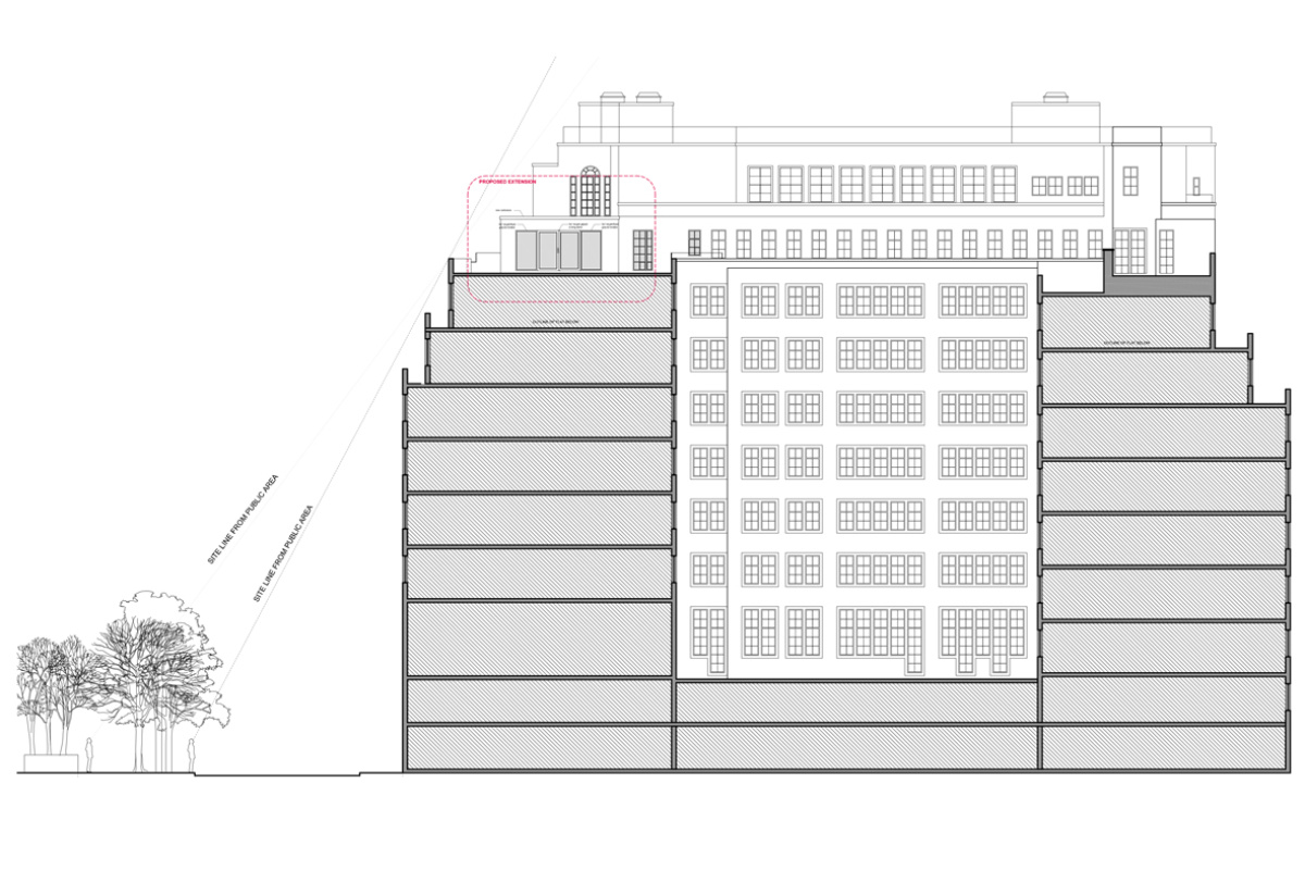 Architect designed penthouse extension Pimlico Westminster SW1P Elevation and section 1200x800 Pimlico, Westminster SW1P | Penthouse extension and alterations