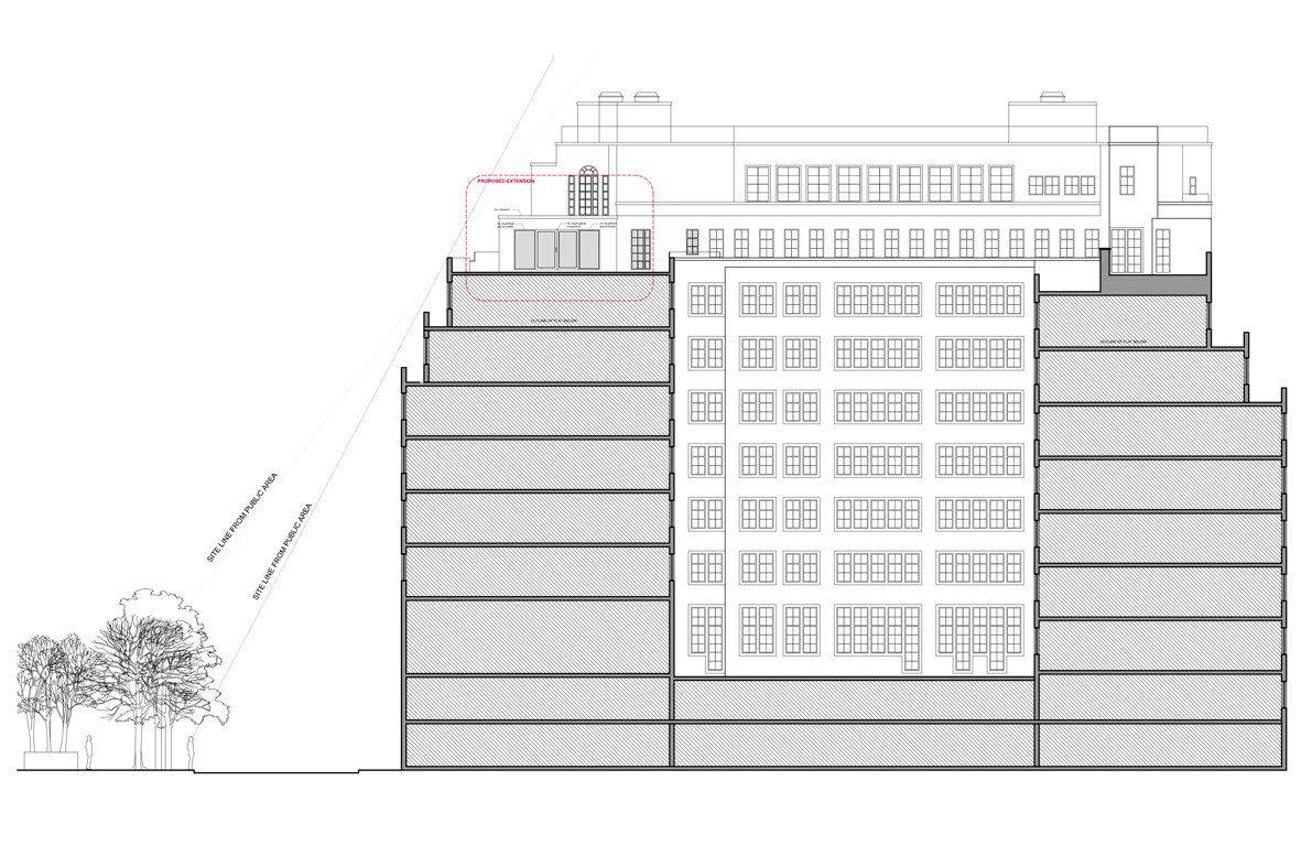 Architect designed penthouse extension Pimlico Westminster SW1P Elevation and section Pimlico, Westminster SW1P | Penthouse extension and alterations