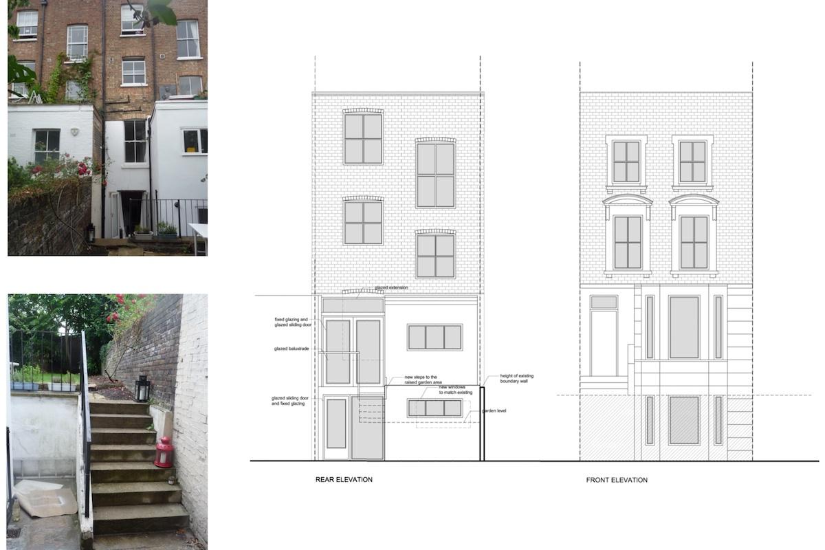 Architect designed rear flat extension Chalk Farm Camden NW5 Design elevations 1200x800 Chalk Farm, Camden NW5 | Rear flat extension
