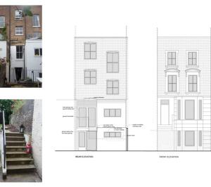 Architect designed rear flat extension Chalk Farm Camden NW5 Design elevations 300x266 Chalk Farm, Camden NW5 | Rear flat extension
