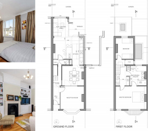 Architect designed rear house extension Herne Hill SE24 Lambeth Design floor plans1 300x266 Herne Hill, Lambeth SE24 | House extension