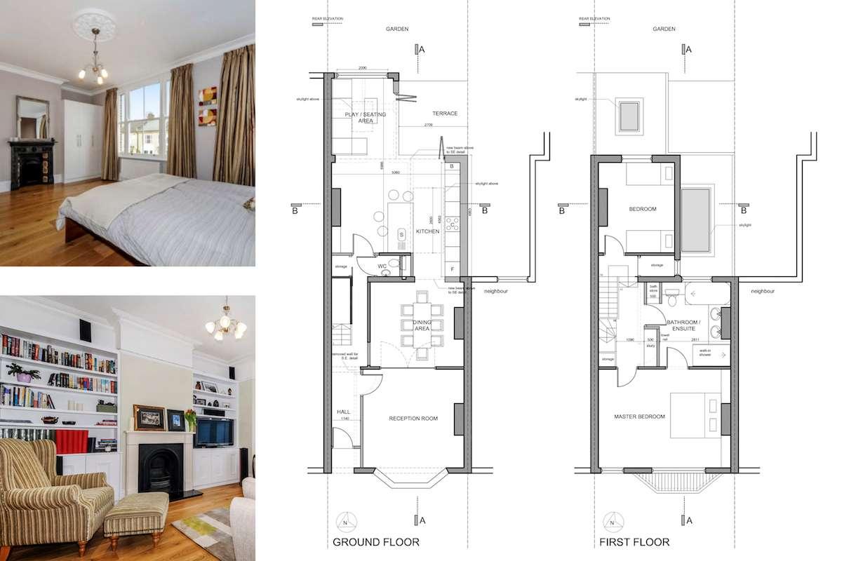 Architect designed rear house extension Herne Hill SE24 Lambeth Design floor plans1 Herne Hill, Lambeth SE24 | House extension
