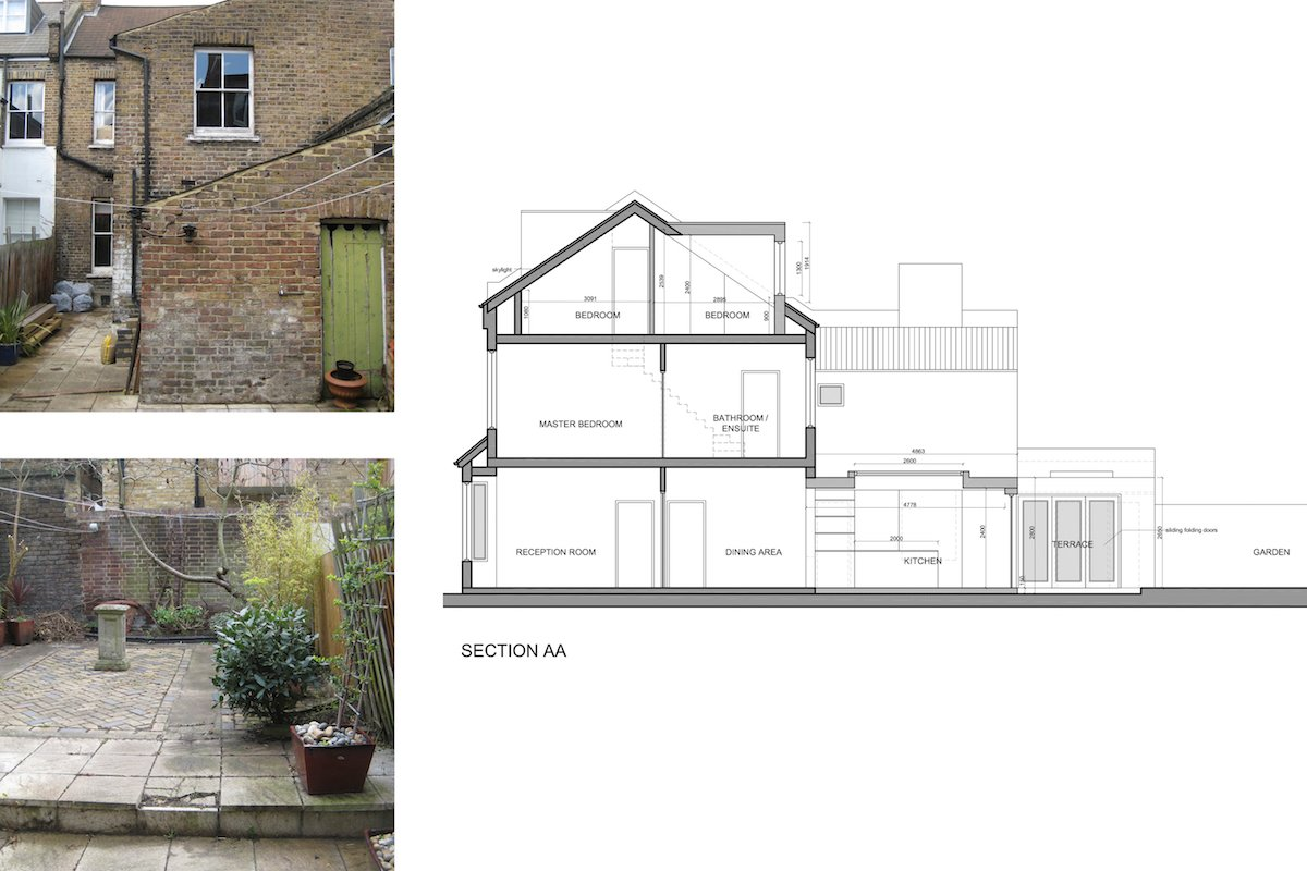 Architect designed rear house extension Herne Hill SE24 Lambeth Design section4 Herne Hill, Lambeth SE24 | House extension