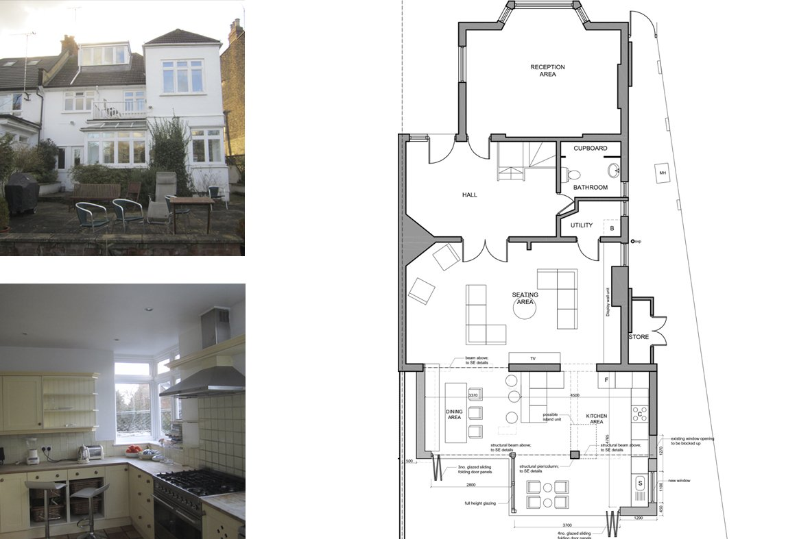 Architect designed rear house extension Muswell Hill Haringey N10 Ground plan Muswell Hill, Haringey N10 | Rear house extension
