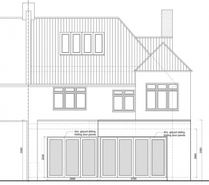 Architect designed rear house extension Muswell Hill Haringey N10 Rear elevation 300x266 Muswell Hill, Haringey N10 | Rear house extension